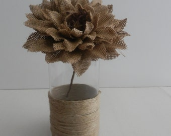 10 Rustic Wedding, Rustic centerpiece ,Glass candle holder with burlap flower and rope trim for wedding centerpiece