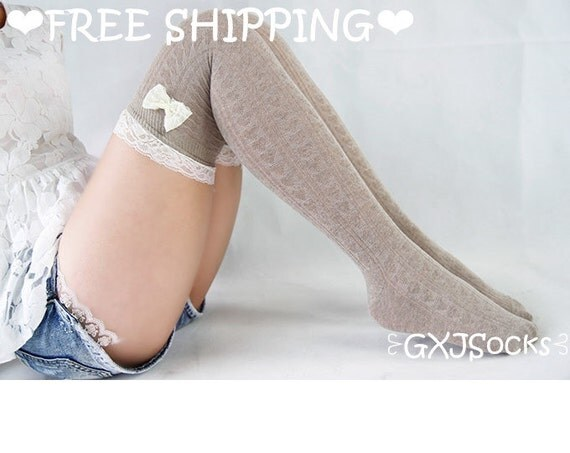 Cute Socks Khaki Lace Socks With Bowknot Boot Socks With Lace Trim Wedding Clothing for Bridesmaid High Thigh Socks Boot Cuff Socks 17121014