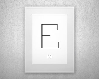 Typography Art Print - E - Letter poster - Printable - Wall Art