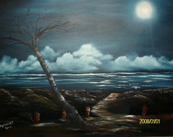 Sea scape painting of tree Fort Fisher, North Carolina...painted on a black canvas. The colors pop, beautiful ocean painting.