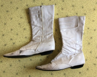 White 60's Style Vintage Leather Boots Size 37