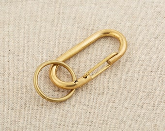"""2.2"""" Solid Brass Hook Keychain Leathercraft Accessory-Carabiner Clip-Key Hook / CA-Br03/#3"""