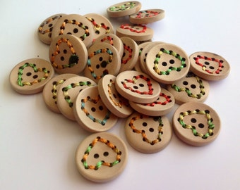 10 x stitched heart wooden button 20mm