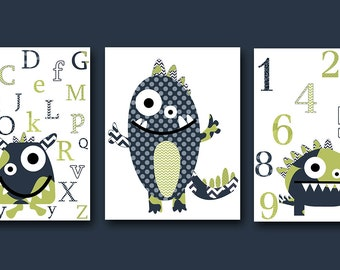 Didital Alphabet Nursery Baby Boy Nursery Art Print Monster Nursery Children Art Kids Art set of 3 8x10 11X14 Kids INSTANT DOWNLOAD Wall Art