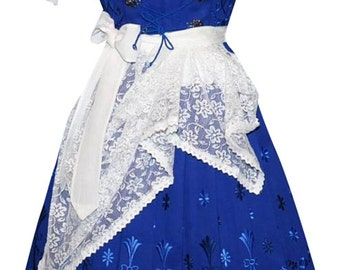 3-Piece Long Blue German Dirndl Dress 2 4 6 8 10 12 16 20 22 24 S M L XL 2XL