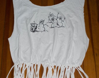 Recycled Tee Tote Book Bag Snowmen Attack