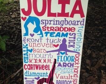 SALE Personalized Wooden Teen Gymnast Gymnastics Sign