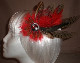 Red and Brown Feather Hair Piece