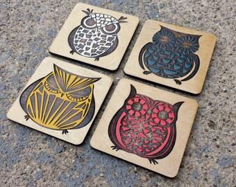 Patterned Owl Coaster Set