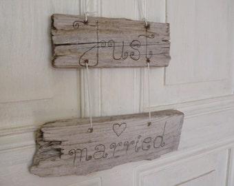 Driftwood wedding sign Just married, wood burned, sea wood