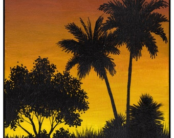 Yellow And Brown Sunset with 2 Palms