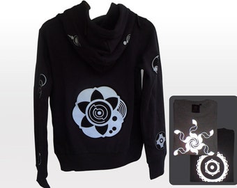 Flower light reflective Jacket black with hood silver print crop circle design UV Goa Steampunk Sci Fi bicycle psychedelic