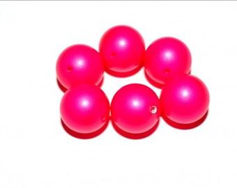 6 pc Swarovski Elements NEON Pearls (5810) Neon Pink
