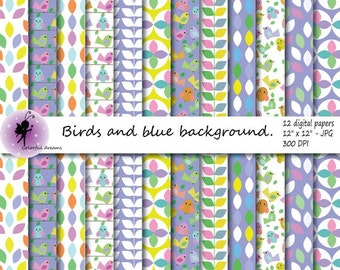 Birds Digital Paper, blue background, Summer Scrapbooking Papers, paper with Birds, commercial use