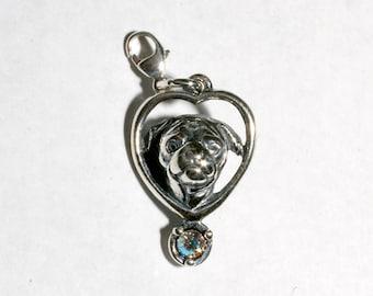 Sterling Silver Pug Charm With Swarovski Birthstone