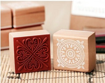 6 pcs/set Lace Wooden Square Rubber Stamp Set - Rubber Stamps - Lace Stamp -6pcs in