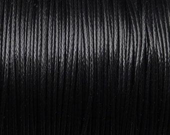 1mm waxed polyester cord, diameter 1mm, BLACK
