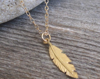 Men Necklace - Men Feather Necklace - Men Gold Necklace - Men Jewelry - Men Gift - Boyfriend Gift - Husband Gift - Present For Men - Male