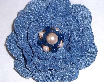 Upcycled Denim Shabby Chic Flower Pin With Blue & White Pearl Center F-5
