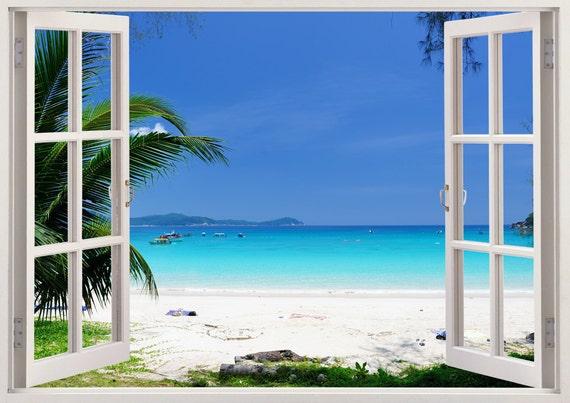 Window Wall Art beautiful beach wall art 3d window beach wall decal with
