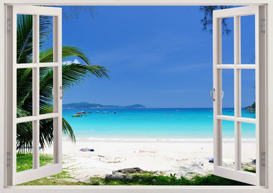 Beautiful beach wall art 3d window beach wall decal with - Stickers papier peint mural ...