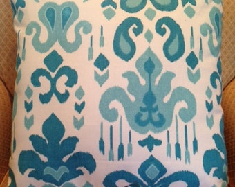 Turquoise and Cream Ikat Pillow Cover