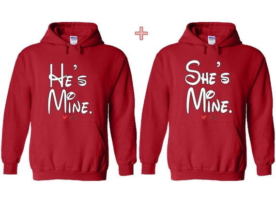 He's Mine, She's Mine Couple Matching Hoodie. Soul Mate Couple Hooded Sweater. Funny Couple Pull Over. His and Hers Sweatshirt. Gift Idea