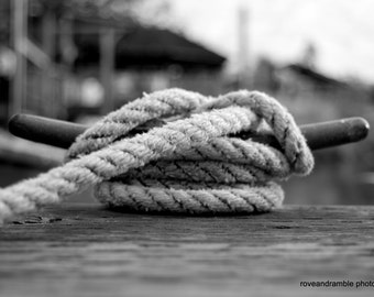 8 x 10 Nautical boat rope // Nautical Decor // Wedding knot // Nautical knot photograph // Black and white photography // Boating //