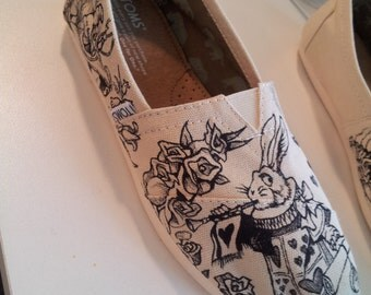 Toms Shoes Customized Classic Alice In Wonderland