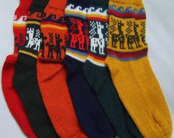 Alpaca Socks, warm and comfortable, 100% Alpaca wool yarn socks, bright colors