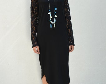 black evening dress/ long sleeve dress/ lace dress/ black lace dress.