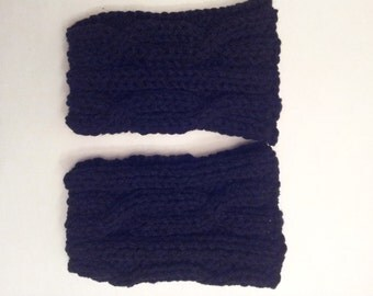 Cable Black  Knitted Women's Boot Cuffs