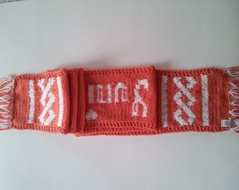 Coral and White Personalized Long Women's Scarf, Unisex Scarf with Strings, Men's Knitted Scarf, Personalized Neck Warmer