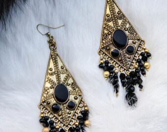 Large Gold and Black Dangle Earrings