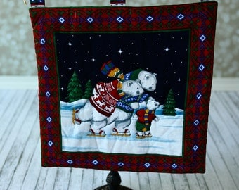 Christmas Quilt Wall Hanging ,  Bears Handmade Quilt . Ready to ship.