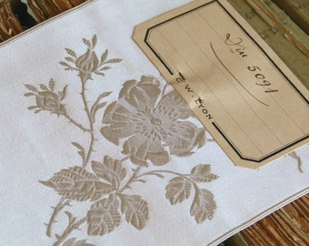 Antique French silk jacquard ribbon, ivory w/ intricate silk rose brocade embroidery, luxury bridal design, vintage wedding, costume