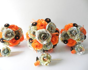 Orange wedding bouquet for the bride and bridesmaids and buttonholes in Origami with journey theme