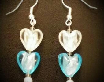 Handmade Glass Heart Bead Earrings