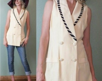 Vintage 1980's '80s Nautical Beige Sleeveless Double Breasted Top Tunic S-M