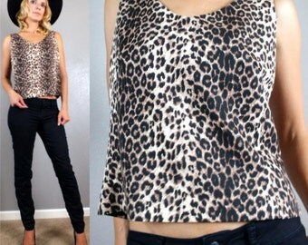 Vintage 90s Minimalist Animal Leopard Print Glam Party Tank Top Cropped S-M