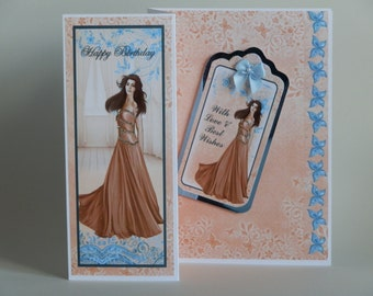 Peach and blue Z-fold blank  female birthday card - can be personalised