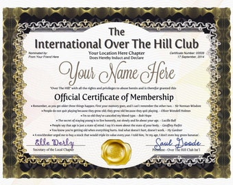 PDF - Over The Hill Club or Old Farts Club - Official Certificates Of Membership Give To Friend, Or Loved One