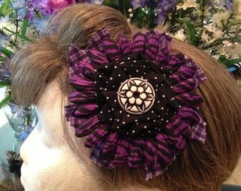 Purple Hair Flower, Animal Print Flower, Polka Dot Flower, Pinup Flower, Rockabilly Hair Flower, Retro Hair Flower
