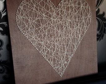 Wooden Memo Notice Board | Nail & Twine Heart Wall Art