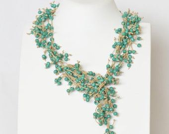 Necklace Turquoise Necklace Beaded Necklace Multi strand Necklace Long Necklace Wrap Necklace Statement Necklace Gift Unique Gift For Her