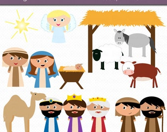 Christmas Nativity Kids Clipart Digital Art Set Commercial Use Clip Art INSTANT Download Nativity Clipart Christmas Clipart