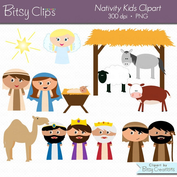 Christmas Nativity Kids Clipart Digital Art Set Commercial Use