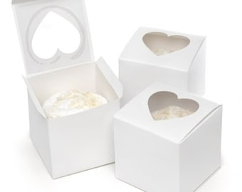 White Cupcake Favor Boxes with Heart Cut Out Window (Pack of 24) Valentines Day