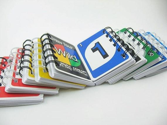 2 uno blank spiral bound notebooks vintage uno cards