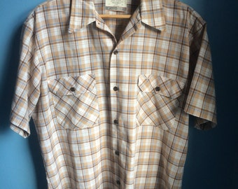 Vintage early 70's sears gingham work shirt, size large, rockabilly